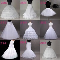 Wholesale dress underskirts - 2018 Free Shipping 10 Styles White A-Line Balll Gown Mermaid Wedding Party Dresses Underskirts Slips Petticoats With Hoop Hoopless Crinoline
