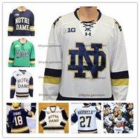 01c2df9b8bd Kundenspezifische Notre Dame kämpfende Iren 15 Andrew Oglevie 24 Luke  Ripley irgendeine Namenszahl große zehn Marine-Blau-weiße College-Hockey  nähte Trikots