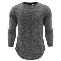 Wholesale korea fashion clothing men for sale - Group buy Men Knitted Tshirts Autumn Winter Slim Long Grey Tops Korea Style Fashion Tees Clothing