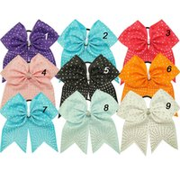 "Wholesale Hair Barrette Crystal Handmade - 7"" Rhinestone Cheer Bows With Elastic Band For Kids Girls Handmade Large Crystal Center Hair Bows Hair Accessories 10pcs"
