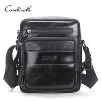 Wholesale small wax bags online - CONTACT S New Arrival Genuine Wax Leather Men s Cross Body Bag Shoulder Bags For Men Messenger Bag Portfolio High Quality