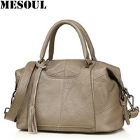 Wholesale new boston handbag genuine leather resale online - New Casual Handbags Designer Female Bags Genuine Leather Totes Bolsa Feminina Tassel Boston Cowhide Shoulder Bags For Women