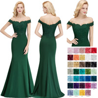 Wholesale mermaid wedding dresses free shipping resale online - 2018 New Dark Green Bridesmaid Dresses Mermaid Off Shoulder Lace Appliqued Lycra Wedding Guest Dress BM0065