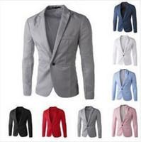 ingrosso blazer candies-Casual Uomo Suit Hooded One Button Uomo Red Blazer Outdoors Slim Fit Jacket Uomo Manica lunga 8 Abiti colore Candy Plus Size M-XXXL