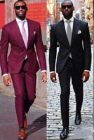 traje azul marino pantalones burdeos al por mayor-Burgundy / Azul marino Hombres boda esmoquin Excelente novio esmoquin pico solapa Dos botones Slim Fit hombres Blazer 2 piezas traje (chaqueta + pantalones + Tie) 1340