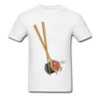 yaka yaka gömlek erkek toptan satış-Ilginç erkek T Gömlek Çubuklarını Magikarp Suşi Çılgın Tees Gömme sonbahar Normal Yuvarlak Yaka Tişörtü Serin Komik T Shirt Erkekler Için