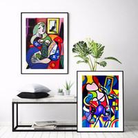 arte nude preto branco venda por atacado-Aquarela mundo famoso Picasso Mulheres Pintura Abstrata Na Lona Casa HD Impressão Sala Deco arte da Parede decorar cartaz