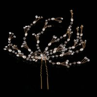 ingrosso accessori europei di capelli nozze-Spose europee e americane con beaded hair and hairpin embellished wedding bridal dress with accessories