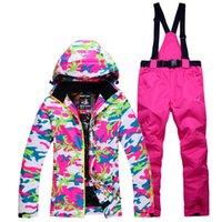 Wholesale female sports wear - 2018 Women Ski Suit Thermal Outdoor Sport Wear Skiing Snowboard Windproof Waterproof Jacket Pant Super Warm Female Suit Winter