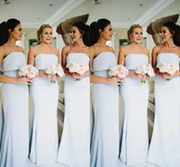 Wholesale wedding columns for cheap for sale - Cheap Sexy Mermaid Bridesmaid Dresses Strapless Stain Dresses Floor Length Sleeveless For Wedding Party Bridesmaid Gowns