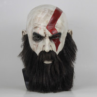 Wholesale beard masks resale online - Game God Of War Mask with Beard Cosplay Kratos Horror Latex Masks Helmet Halloween Scary Party Props Adult