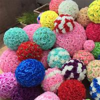 12 inç çiçek topları toptan satış-12 Inç Düğün İpek Çiçek Topu Yapay Gül Topu Çiçek Parti Ev Bahçe Pazar Dekorasyon Için HH7-439