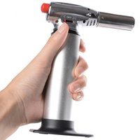 Wholesale steel lighters - 1300C Butane Scorch torch jet flame lighter kitchen torch Giant Heavy Duty Butane Refillable Micro Culinary Torch Self-igniting DHL Free