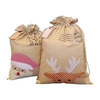 Wholesale xmas gift boxes wholesale - Christmas canvas bag Santa Xmas bag Cotton and linen drawstring bags Christmas gift bags embroidery bags Christmas Decoration MMA343 10pcs