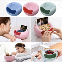Wholesale phone storage box holder resale online - New Creative Fruit Plate Multi Functional Small Double Layer Fruit Dish Snack Plates Storage Box Trash Can Phone Holder Lazy Plate WX9