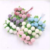 suni kalemler toptan satış-10 adet Köpük Kiraz Stamens Şifon Yapay Çiçek Düğün Ev Dekorasyon diy Çelenk Hediye Kutusu Kesim Klip Zanaat Sahte Çiçek