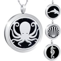 Wholesale dolphin locket chain resale online - Hot Sales Ocean Theme Locket Essential Oil Diffuser Pendant Dolphin Aromatherapy Perfume Magnetic Shell Locket Necklace