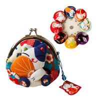 bolsa de tecido gato venda por atacado-Kawaii estilo gato japonês, bolsa da moeda gato de sorte, sacos de moedas, Zero Carteira, bordado tecido quimono saco de moedas monederos