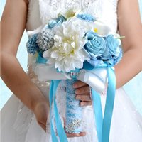 Wholesale white silk flower bridal bouquets resale online - Princess Country Bridal Holding Brooch Bouquets Blue White Rose Silk Artificial Forest Wedding Decoration Bridesmaids Flowers CPA1544
