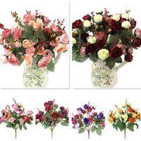 güzellik çiçekleri yükseldi toptan satış-1 Buket 21 Kafa Yapay Gül Renkli Ipek Çiçek Yeterli Sahte Çiçekler Güzellik Ev Partisi Düğün Dekor Için