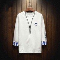 beyzbol gömlek uzun kollu toptan satış-Sonbahar ve kış Marka Giyim erkek Uzun Kollu Yuvarlak Boyun T-Shirt Rahat Beyzbol Tshirt Erkekler Raglan Tee Streetwear Artı Boyutu 5XL