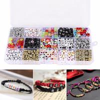 plastikperlenketten großhandel-1100 teile / satz DIY Schmuck Mixed Acryl Kunststoff Alphabet Perlen, sortierte Farbe Brief Cube Perlen für DIY Armbänder Halsketten Schlüsselanhänger