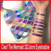 Wholesale Eyeshadow Palette Fashion Cosmetics - Fashion Women Beauty Cleof Cosmetics The Mermaid Glitter Prism Palette Eye Makeup 32 Colors Eyeshadow Palette