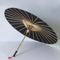 guarda-chuva chinês preto venda por atacado-Artesanal De Tecido Preto De Seda Artesanato Guarda-chuva De Casamento Festa De Noivo Guarda-chuva Do Sol Foto Prop Chinês Parasol ZA6186