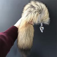 Wholesale girl toys plugs online - 100 Real Genuine Wolf Fox Fur Tail Plug keychain bag charm plug Cosplay Toy Keychain keyring Handbag Accessory