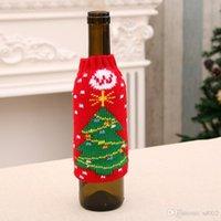 christmas decor cerveja venda por atacado-Feliz Natal Decoração Tampa De Garrafa De Vinho Mobiliário Papai Noel Boneca de Neve Segurar Saco de Alta Qualidade Suprimentos de Tricô Festival 4 2yh ii