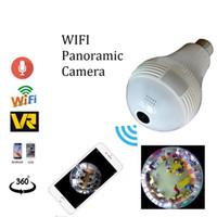 Wholesale cameras bulbs resale online - Wireless WIFI Bulb Light IP Camera HD P Degree FishEye VR Panoramic Camera Bulb Light Home Security Surveillance CCTV camera