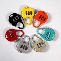 Wholesale Numbered Locks - Colorful Three Number Password Padlock For Outdoor Travel Zinc Alloy Luggage Zipper Lock Portable Mini Code Locks Creative 1 2qs B