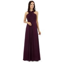 mor straples nedime elbiseler şifon toptan satış-Bordo Şifon Gelinlik Modelleri Halter Kat Uzunluk Düğün konuk elbise Kat Uzunluk Gelinlik Giydirme Ucuz
