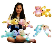 Wholesale Lying Dog Toys - New Arrival colorful Glowing Dolphin Lying Dog Ribbons BEAR Doll Filled Animals Led Light hair Dog Plush Toys Girl Novelty Gift