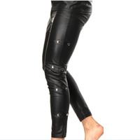 leggings de couro do falso do zipper venda por atacado-Novos Homens Sexy Faux Leather PU Lápis Rebite Calças Leggings Casuais Slim Fit Apertado Zipper Erotic Lingerie Desgaste Do Clube