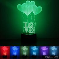 luzes led balões de plástico venda por atacado-Bonito 3D Luz Do Coração Forma Balão Colorido Mudança Luzes LED Acrílico Plástico 1.5 w Lâmpada Da Noite Para O Dia Dos Namorados Melhores Presentes 28 rm ZZ