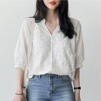 Wholesale blusas moda - Embroidery blouse white shirt women blouses shirts blusas mujer de moda 2018 chemise femme loose tops plus size women clothing