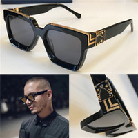 Wholesale retro sunglasses online - 2018 New men brand designer sunglasses Millionaire square frame sunglasses retro vintage shiny gold summer style laser logo top quality96006