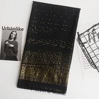 brilho xale muçulmano venda por atacado-Inverno preto cachecol geometria trigon lenços de passar o ouro cachecol glitter plain algodão muçulmano hijab / xales 7 cor 180 * 90 cm