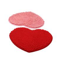ingrosso stuoia del bagno del cuore-1pcs Home Decor Fluffy 48 * 58 cm Amore a forma di cuore antiscivolo tappetini da bagno bagno tappeto set 7 colori doccia tappetino bagno wc per la cucina