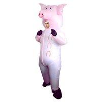 vestido de porco venda por atacado-Traje da mascote do Dia Das Bruxas Terno Inflável Rosa Porco Explodir Animal Fazenda Fancy Dress Costume