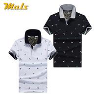 белые рубашки поло оптовых-2Pcs/Lot Mens  Shirt Cotton Polka Dot Summer Short 3XL Male  Men Top Tees Cool Muls  Clothing Navy Black White Gray