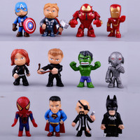 modelos de juguetes de batman al por mayor-12pcs / set nuevos Avengers juguetes mini The Avengers Figures modelo de PVC Batman Hulk Thor juguetes de acción Super hero juguetes regalos para niños