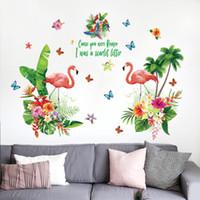 kız kelebek duvar çıkartmaları toptan satış-Romantik Aşk Kırmızı Flamingo Duvar Çıkartmaları Tropikal Yeşil Yaprak Çiçekler Kelebek Çıkartmaları Kız Yatak Odası Salonu Dekor Gardırop Sticker