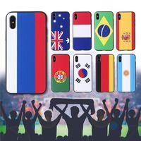 tasse de couverture d'iphone achat en gros de-Applicable nouveau drapeau de la Coupe du monde iphoneXS MaX peint coque de téléphone mobile 7plus anti-chute iphone6s couverture de protection en gros