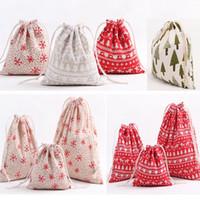 xmas cüppesi hediye çantası toptan satış-Noel Hediye Çantası Ren Geyiği Kar Tanesi Saklama Çantası Pamuk İpli Paket Çanta Noel Şeker Çay Paketi Hediye Paketi XMAS Süslemeleri HH7-1297