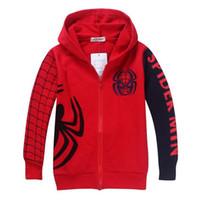 çocuklar için karakter hoodies toptan satış-Yeni Erkek Örümcek Adam Ceket Çocuklar Pamuk Bahar Ceket Chirdren Karakter Güzel Hoodies Kabanlar Örümcek-adam Erkek Giysileri