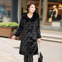 Wholesale Wool Overcoat Design Women - 5XL 4XL XXXL Winter X-Long Design Striped Black Fur Coat Overcoat Plus Size Women Clothing Winter Coat with a hood