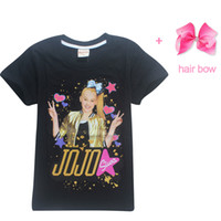Wholesale baby boys tshirts - Summer Jojo Siwa Baby Girls Tshirts Short Sleeve T Shirts For Kids Bobo Choses T -Shirt With Hair Bows Child Sport Clothes 4 -12y