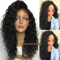 Wholesale synthetic swiss lace wig - Brazilian full lace wigs for black women Kinky curly lace front human hair wigs Pre Plucked Hairline baby hair bleached knots